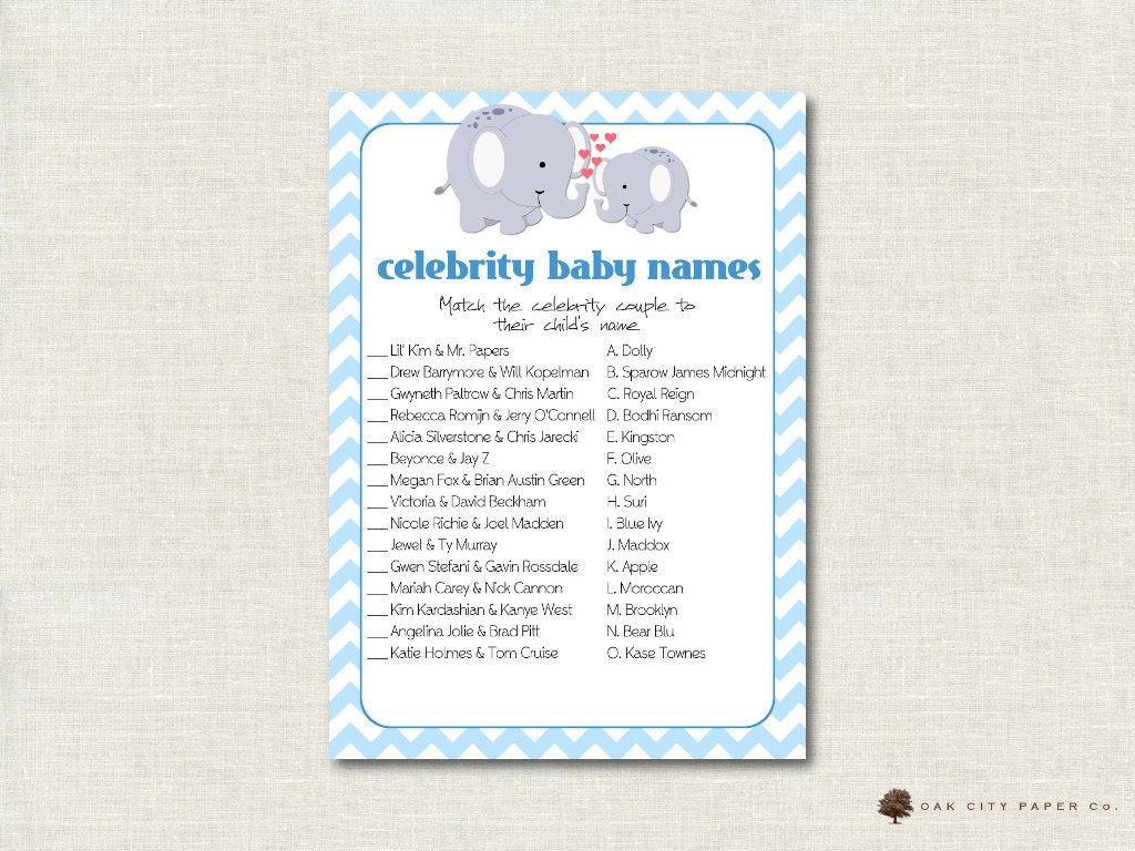celebrity baby shower game elephant celebrity baby name