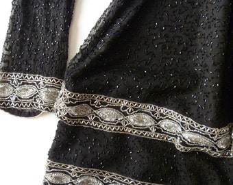 Black and Silver Beaded Evening Gown Heavily Beaded Vintage Dress