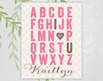Alphabet nursery art I love you nursery decor, pink brown nursery, ABC nursery art girl nursery decor, heart nursery art