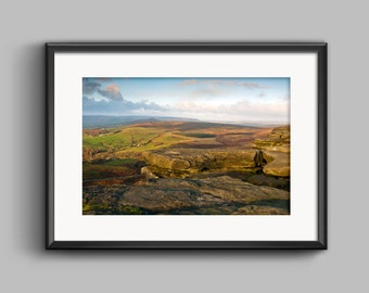 Colour landscape photograph of Stanage Edge, Peak District / National Park / Print / wall art / home decor / Photography
