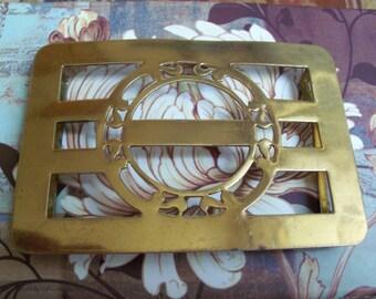 Antique brass belt buckle or scarf  sash clip