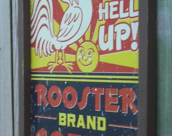 Wood Framed Reproduction Tin Sign, ROOSTER Brand Coffee, 17 1/4 by 13 1/2 inches., Free Shipping