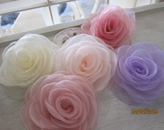 1pcs-Large Organza Rose/NF31-Handmade Organza Fabric Flower/Head pieces/Organza Flower