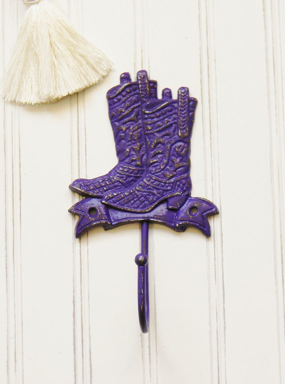 Western Decor Wall Hooks : Cowboy boot wall hook purple by colorfulcastandcrew