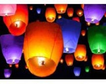 USA Seller - Sky Lanterns - Light up any celebration with these lovely wishing lights - pink, orange, red, purple, blue, white