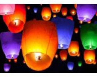 USA Seller - Sky Lanterns - Light up any celebration with these lovely wishing lights - pink, orange, red, purple, blue, green, yellow, whte