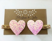 Pink and Gold Glitter Hearts Hair Clips,  Valentine's Day Hair Clips, Girls GOLD Sparkly Hearts Hair Clips Meghan and Julie, Baby Hair Clips
