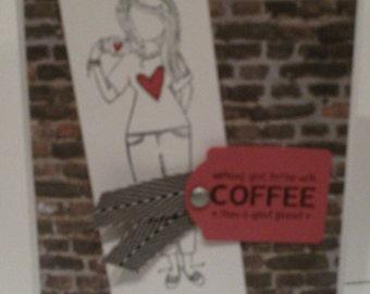 Coffee and Friends Handmade card