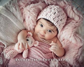 Handmade Stuffed Tiny Bear and Bonnet Set // Custom Newborn Photo Prop // Perfect Shower Gift // Baby Girl Boy // Crochet Hat // Mini Bear
