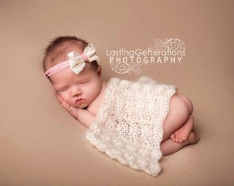 Mohair Shell Wrap // Newborn Infant Baby Hat // Shower Gift Photo Prop // Handmade Crochet Lace Vintage Look