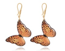 Orange butterfly earrings Gold drop earrings Holiday jewelry Special for her Juicy buttefly in spots Light artistic jewelry African style