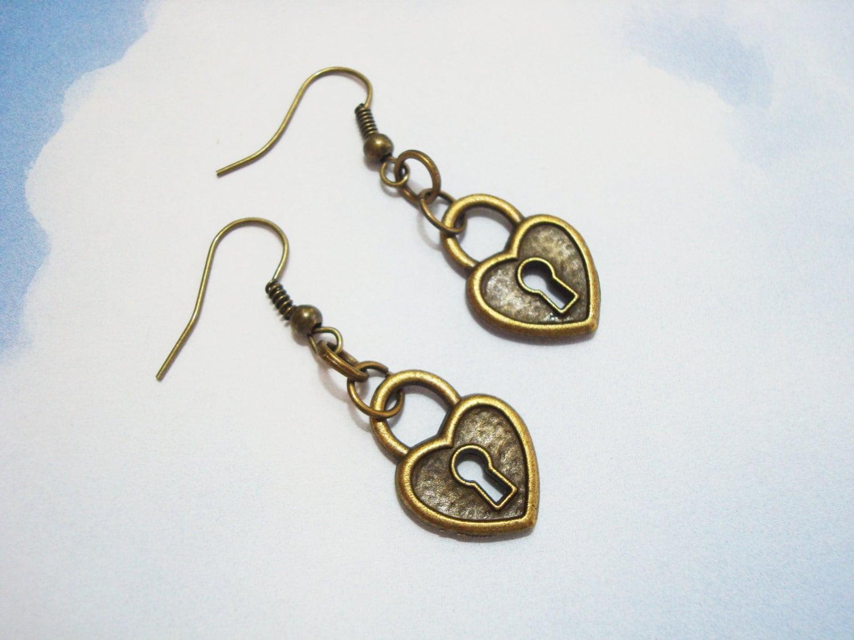 lock earrings bronze padlock earrings lightweight lock