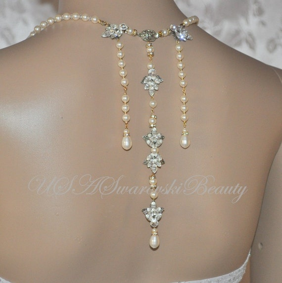 Gatsby jewelry Vintage wedding 1920's Bridal back Necklace