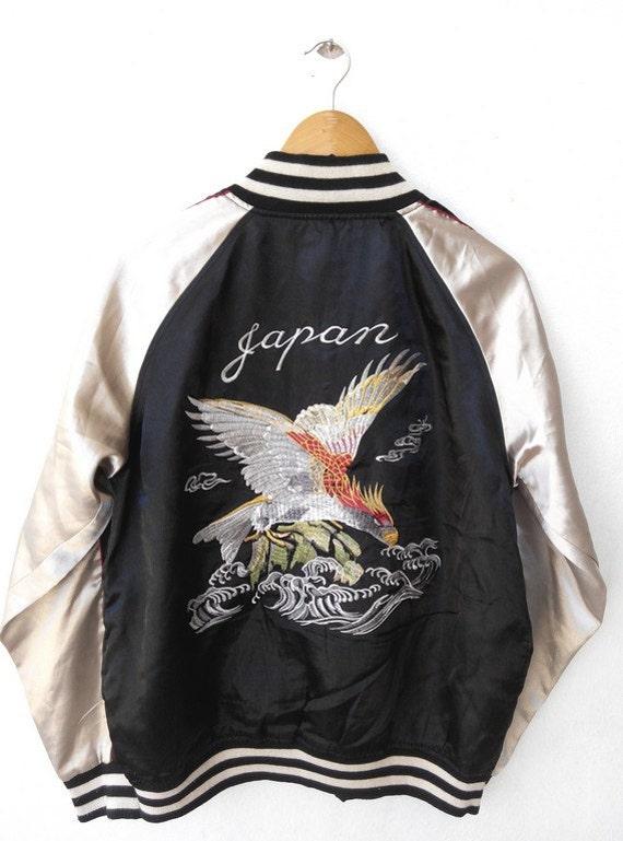 Vtg vintage s sukajan japan eagles embroidery dragon