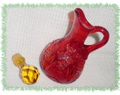 AMBERINA Glass ~ Daisy Star Diamond Pattern ~ 1960s Blown Pattern Glass Ruby Red Cruet - FREE SHIPPING