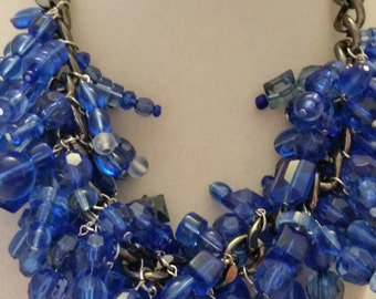Blue Necklace Bib Necklace Statement Necklace Dangling Necklace One of A Kind Necklace Beaded Necklace Bold Necklace Clustered Necklace