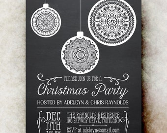 Chalkboard Christmas Party Invitation - White Christmas invitation, christmas balls party invitation, printable Christmas invitation
