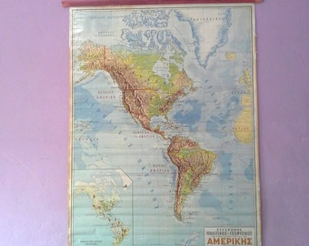 School Chart, American Chart, Geography School Map, Canvas Chart, Pull Down Chart, Large School Map, World Chart, Classroom Chart