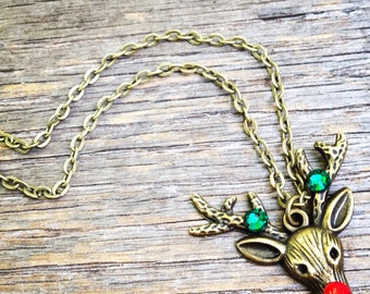 Rudolph the Red-nosed Reindeer Necklace