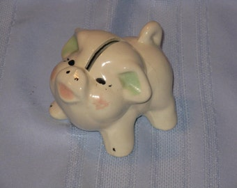 Cute small piggy bank ceramic vintage