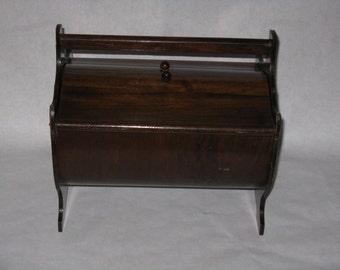 Vintage wood sewing box basket lid