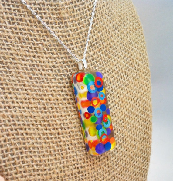 Hand painted resin pendant - abstract dots & circles - rectangle shaped
