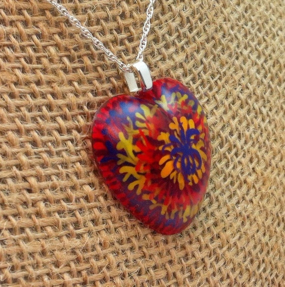 Hand painted resin heart shaped pendant -  red, orange, yellow & purple tie dyed/fireworks - Multi-layer acrylic painting