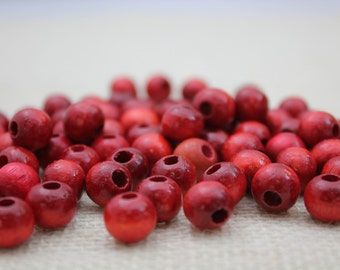 Vintage Red Wood 9mm Beads (34 Pieces)