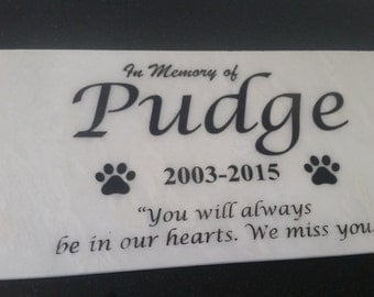 """12""""x6"""" White Marble Personalized Pet Human Memorial Stone Pet Grave Marker Dog Cat Horse plaque Free Shipping Pug"""