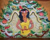 New Painting - African American Angle - Praying Angle -  Christmas Angle - 12 x 18 - Comes in standard poster frame