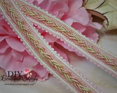 2 Yards Pink and Ivory Braided Trim 1/2 inch Scrapbooking fibers trims Altered art Sewing Trims