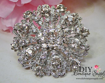 Crystal Brooch Pin Round Rhinestone Brooch - Wedding Bridal Accessories - Brooch Bouquet - Cake Brooch Sash Pin 50mm 848198