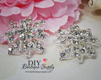 2 pcs Flower Crystal Rhinestone Component Embellishment for Brooch Bouquet Crystal Wedding Supply Bridal sash pins shoe clips 35mm 882092