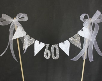 60th Diamond Wedding Anniversary cake topper, suitable for 60th birthday cake topper, white lace and diamonte hearts with diamond numerals