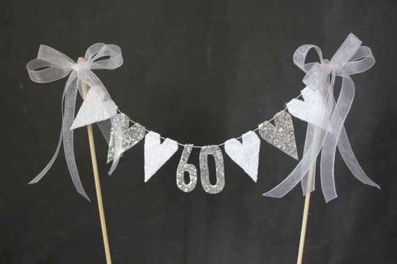 60th Diamond Wedding Anniversary cake topper suitable for 60th