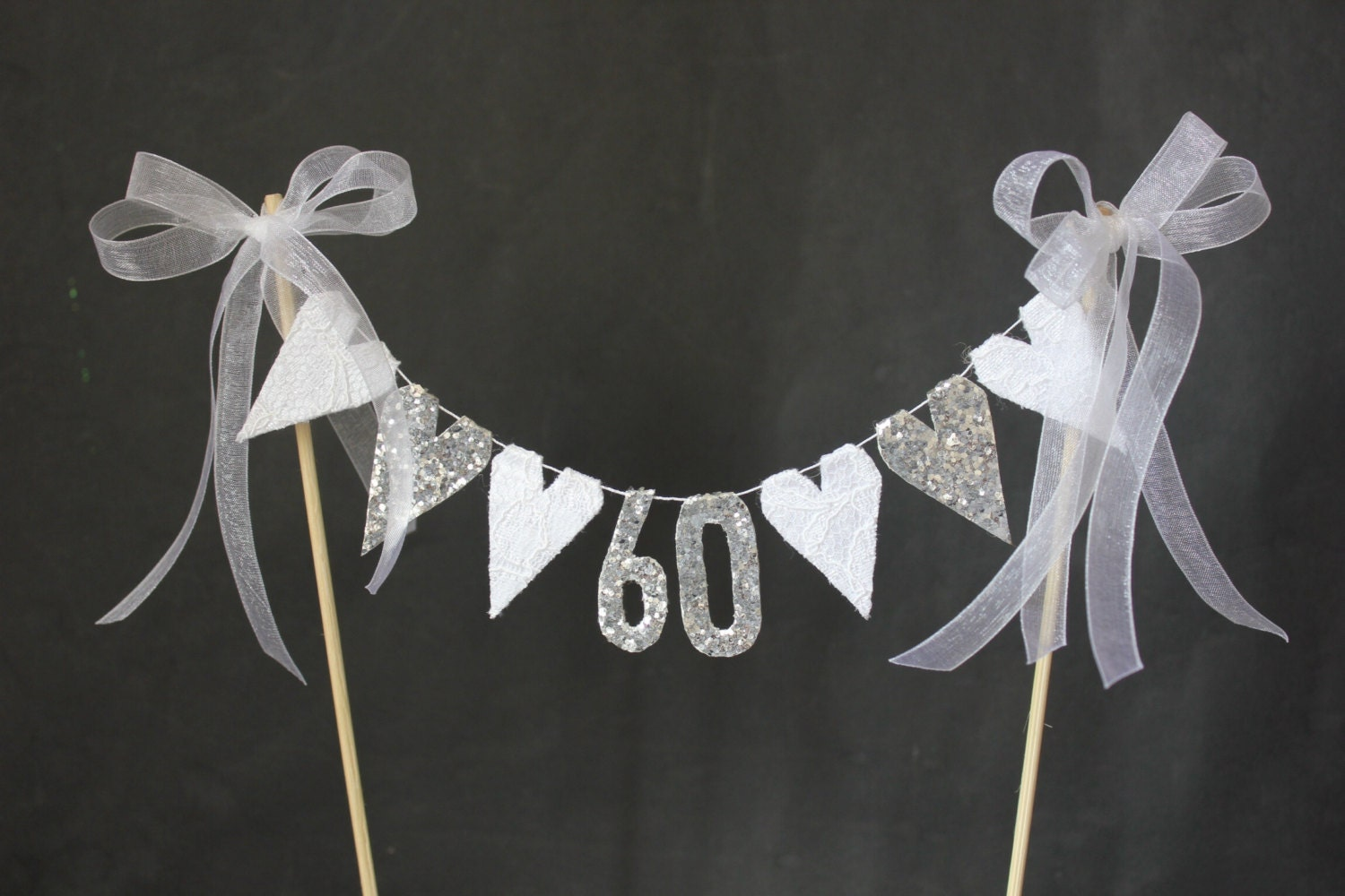 60th Diamond Wedding Anniversary Cake Topper Suitable For