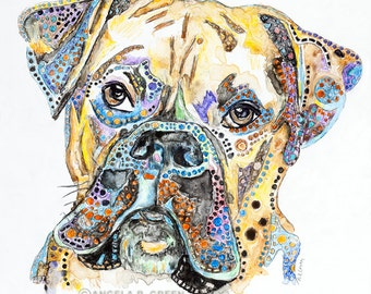 Bruno - Boxer Watercolor Dog Print by Angela R. Green