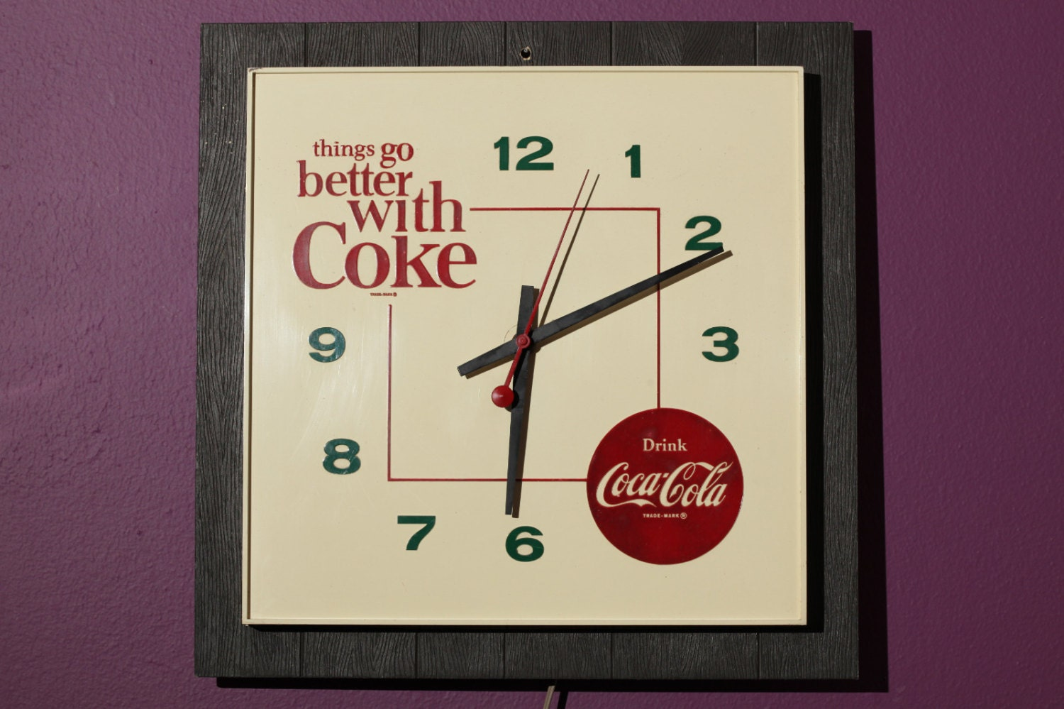 Vintage Rare Coca Cola Wall Clock Things Go Better With Coke