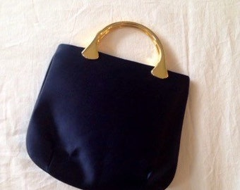 Vintage purse, Miss Lewis navy blue handbag, sold gold toned handle, special occassion bag