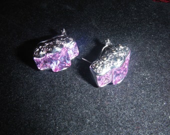 Beautiful Pink Ice Silver-tone Pierced & Clip Earrings Sparkling Faceted Glass Stones