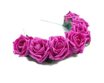 Pink Rose Flower Crown, Pink Rose Headband, Pink Flower Crown, Flower Crown, Rose Crown, Flower headband, Festival Crown, Boho Headband