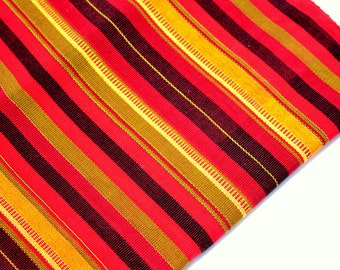 Ikat Handmade Fabric (#56) from Guatemala - 100%Thick Cotton - Sold by yard - Suitable fabric for upholstery