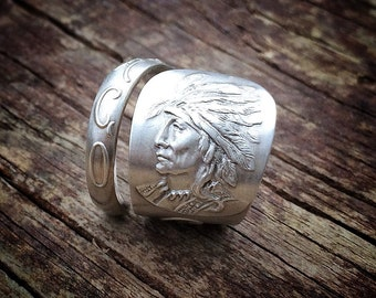 1903 Chicago Black Hawk Sterling Spoon Ring
