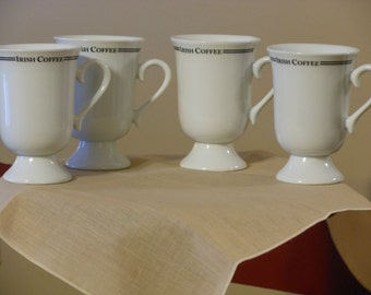 Four  White Irish Coffee Mugs