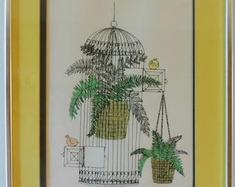 Bright Pen & Ink Picture, Birds, Ferns