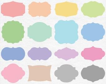 Colorful Pastel Digital Label Clipart - Pastel Rainbow Clip Art Shapes - Printable Pastel Tags - Rainbow Scrapbook Elements - Gray Labels