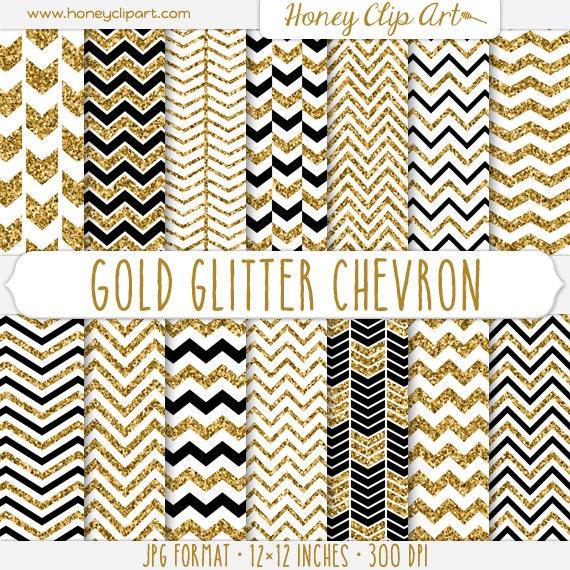 gold glitter chevron digital paper white and gold chevron