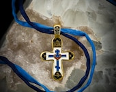 Sale prices on my Christian medallions. Cross is vermeil & enamel. Photos show cross' front and back.  FREE SHIPPING.