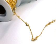 Simulated Diamond Station Chain -- Gold Plated Sterling Silver CZ Cubic Zirconium Bezel and Cable Chain by the Foot