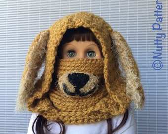 Crochet Pattern * Dog Hooded Cowl * Instant Download Pattern # 485 * baby toddler child teen adult sizes * super bulky yarn * easy